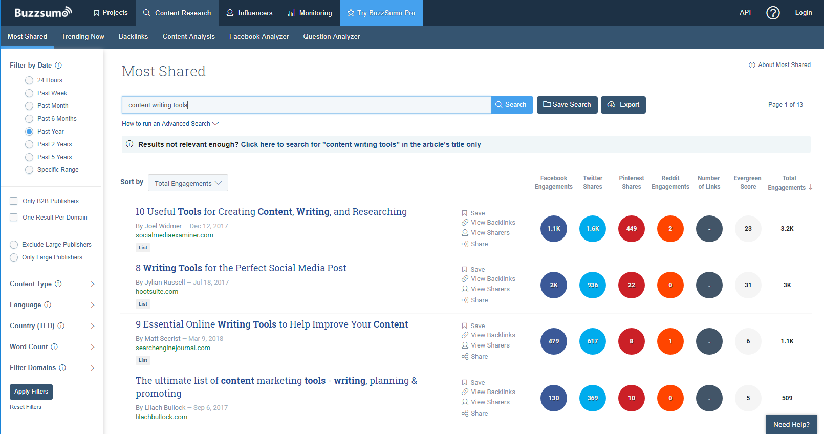 Buzzsumo writing tools