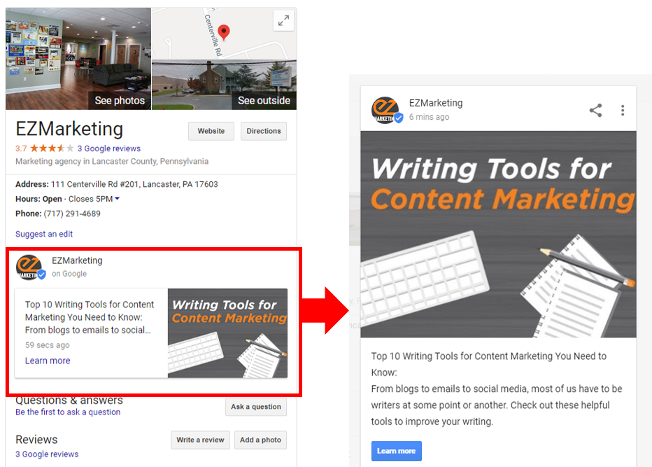 Google Post Example in Knowledge Panel