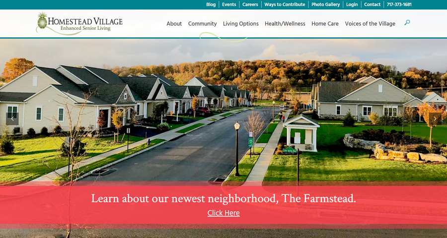 Homestead village web design example