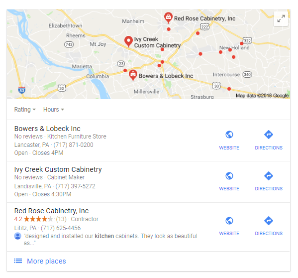 Example Google Local 3-Pack