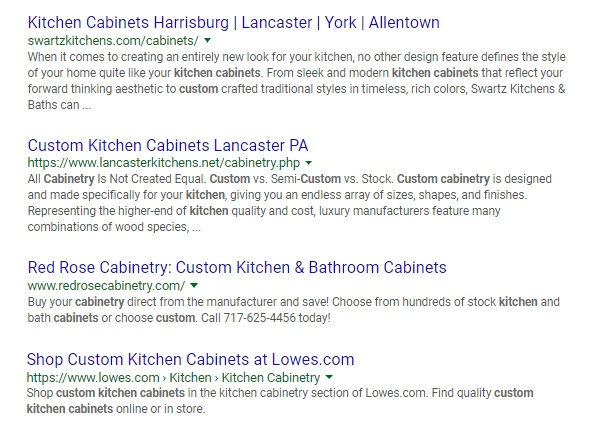 Google local organic search results example