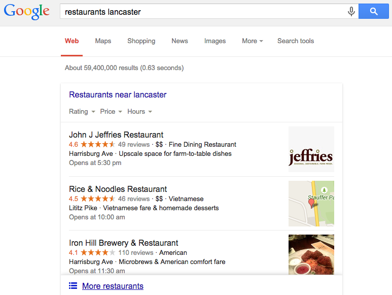 restaurant local search pack