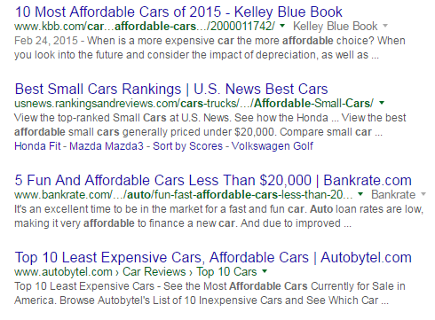 affordable car results