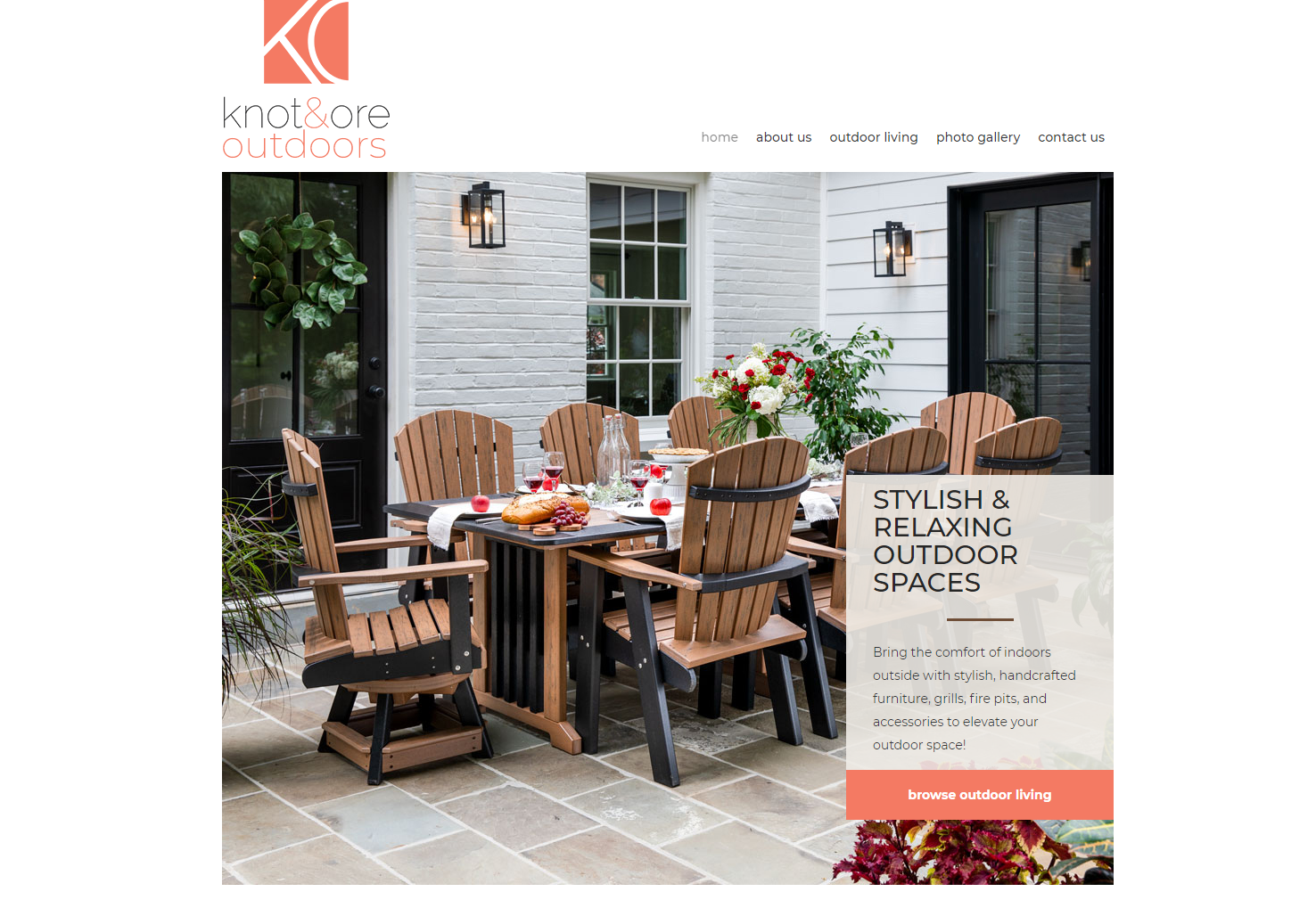 Screenshot of Knot & Ore Outdoors homepage top portion