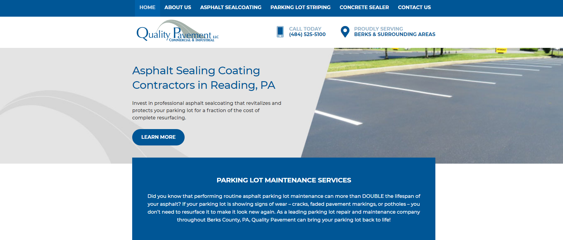 Screen capture of Quality Pavement's website homepage