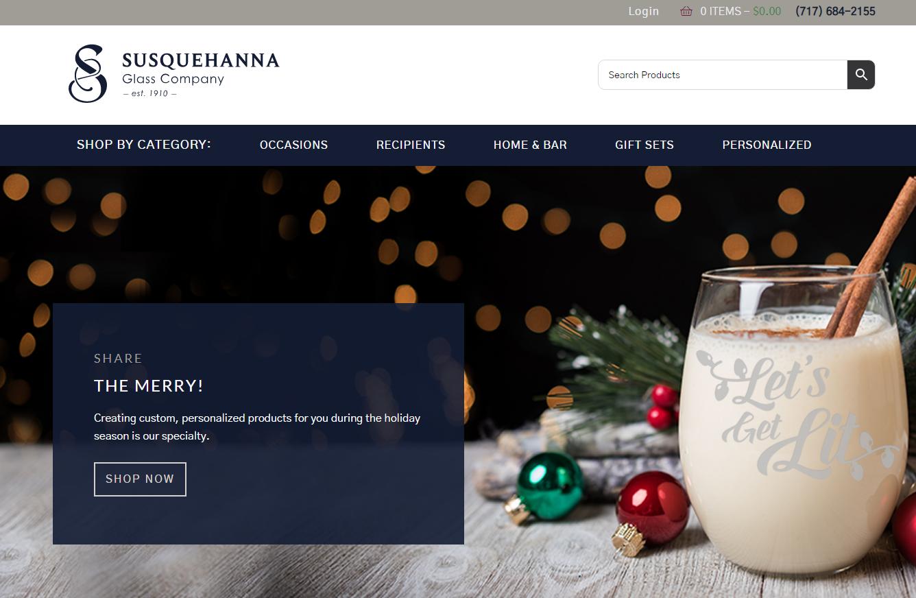 Screenshot of Susquehanna Glass Website