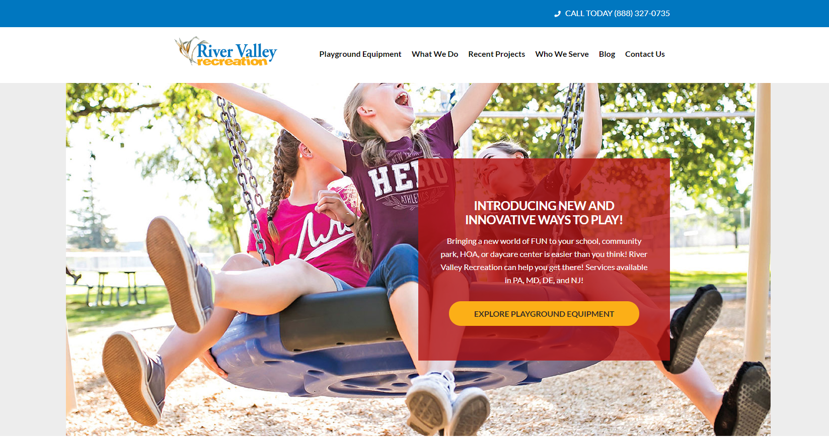 River Valley Recreation Homepage Screenshot